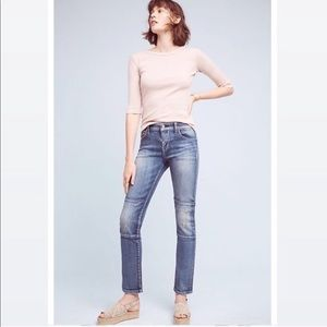 Anthro, Blue Parallel Patch Work Jeans SZ 28 703